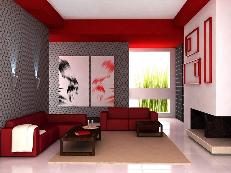 Red White And Black Living Room Design